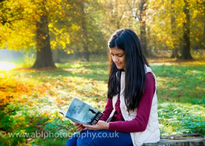 autumn portraits-girl with a book